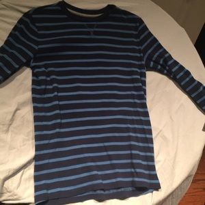Blue Striped Waffle Textured Tee